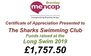 Sharks raised £1,757.50 for Bromley Mencap